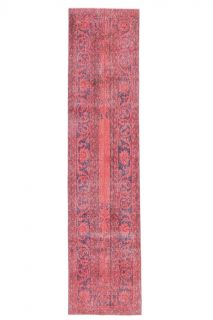 2x10 Vintage Handwoven Hot Pink-Red Patchwork Runner - Thumbnail
