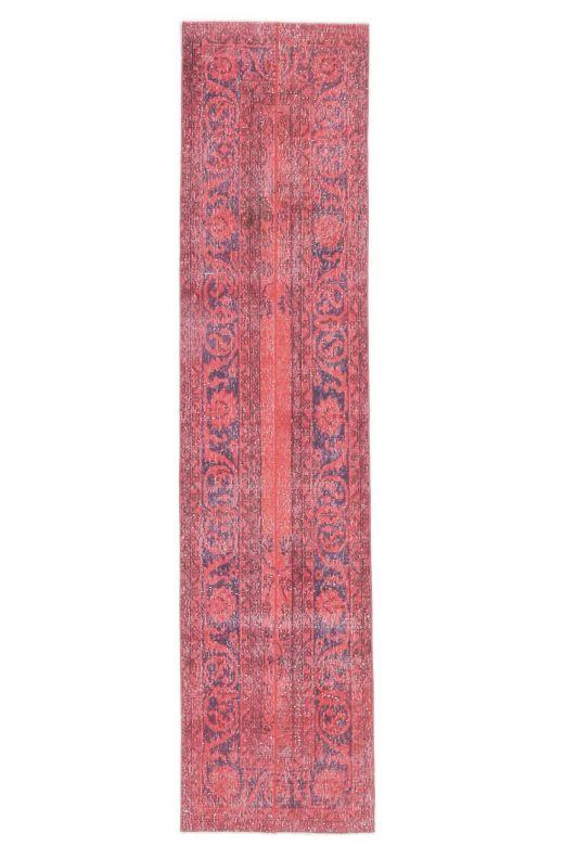 2x10 Vintage Handwoven Hot Pink-Red Patchwork Runner