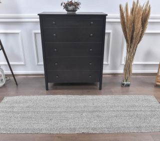 2x7 Vintage Kilim Rug Gray Runner - Thumbnail