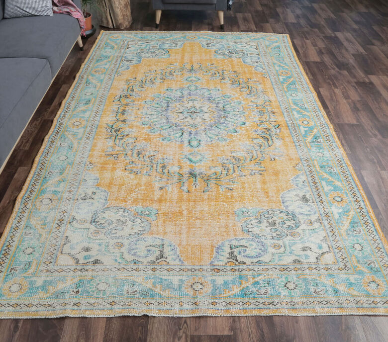 Erinc - Faded Teal & Orange Oriental Vintage Rug