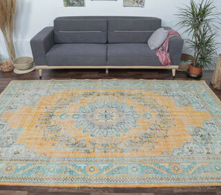 Erinc - Faded Teal & Orange Oriental Vintage Rug - Thumbnail