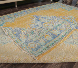 Erke - Orange Yellow Vintage Area Rug - Thumbnail