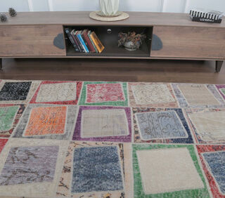 Evelynn - Checkered Colorful Vintage Patchwork Rug - Thumbnail