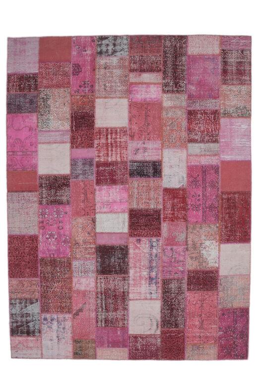Gelincik - Pink Handmade Patchwork Rug