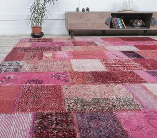 Gelincik - Pink Handmade Patchwork Rug - Thumbnail