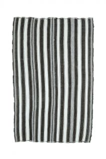 Hattie - Black & White Striped Jute Kilim - Thumbnail